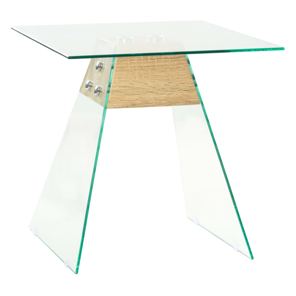 Odkládací stolek z MDF a skla 45 x 45 x 45 cm dubový odstín