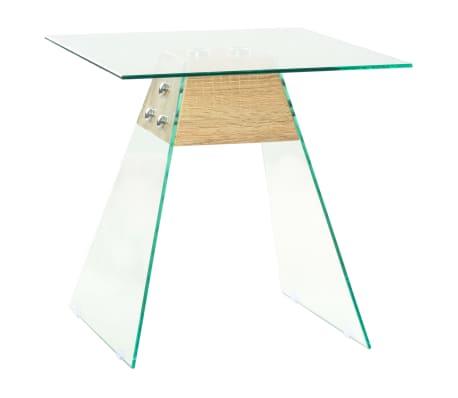 vidaXL Bijzettafel 45x45x45 cm MDF en glas eikenkleur[1/6]