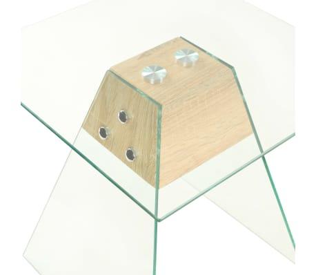 vidaXL Bijzettafel 45x45x45 cm MDF en glas eikenkleur[3/6]
