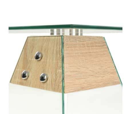 vidaXL Bijzettafel 45x45x45 cm MDF en glas eikenkleur[4/6]