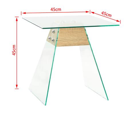 vidaXL Bijzettafel 45x45x45 cm MDF en glas eikenkleur[6/6]