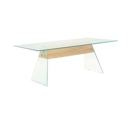 vidaXL Couchtisch MDF und Glas 110 x 55 x 40 cm Eichenoptik[1/7]