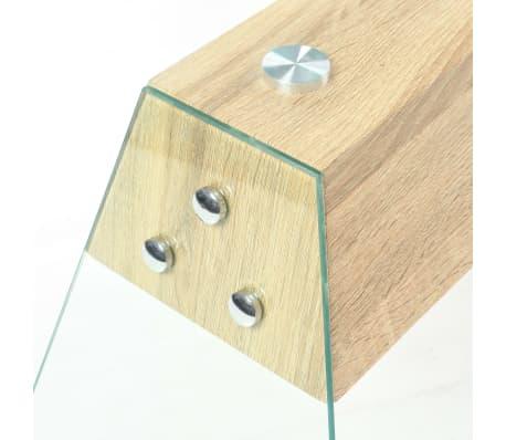 vidaXL Couchtisch MDF und Glas 110 x 55 x 40 cm Eichenoptik[5/7]