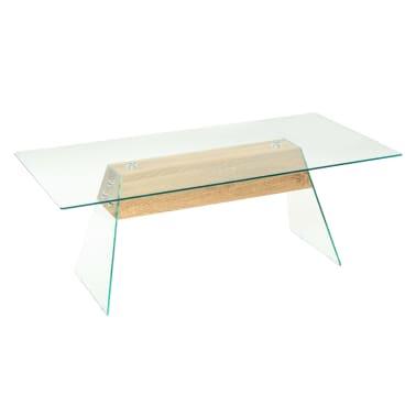 vidaXL Couchtisch MDF und Glas 110 x 55 x 40 cm Eichenoptik[2/7]