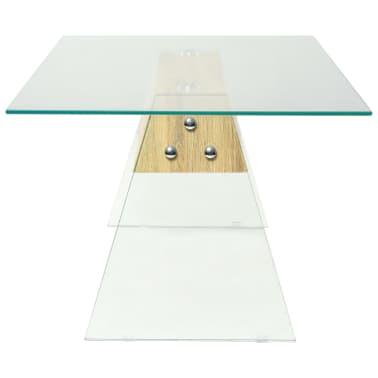 vidaXL Couchtisch MDF und Glas 110 x 55 x 40 cm Eichenoptik[4/7]