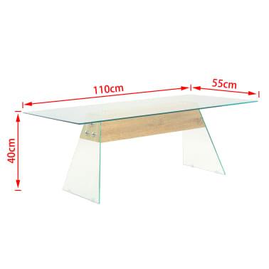 vidaXL Couchtisch MDF und Glas 110 x 55 x 40 cm Eichenoptik[7/7]