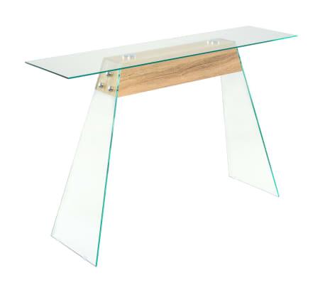 vidaXL Prístavný stolík, MDF a sklo, 120x30x76 cm, dubová farba