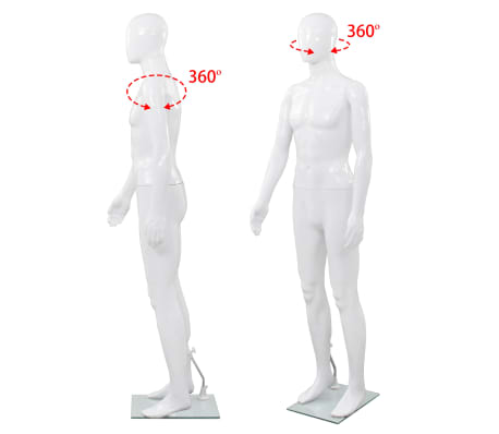"vidaXL Full Body Male Mannequin with Glass Base Glossy White 72.8""[5/9]"