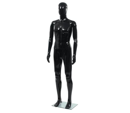 vidaXL Full Body Male Mannequin with Glass Base Glossy Black 72.8""