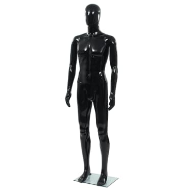 """vidaXL Full Body Male Mannequin with Glass Base Glossy Black 72.8""""[1/9]"""