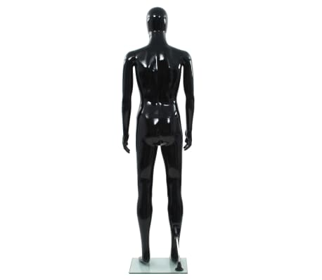 """vidaXL Full Body Male Mannequin with Glass Base Glossy Black 72.8""""[4/9]"""