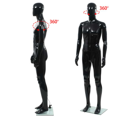 """vidaXL Full Body Male Mannequin with Glass Base Glossy Black 72.8""""[5/9]"""