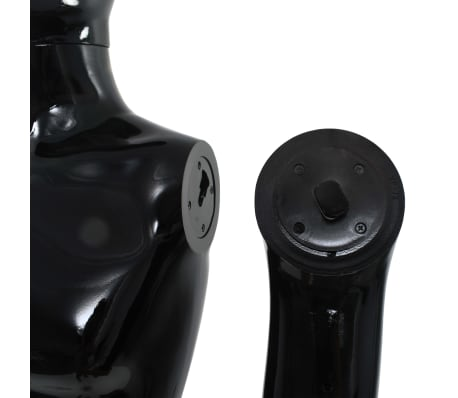 """vidaXL Full Body Male Mannequin with Glass Base Glossy Black 72.8""""[8/9]"""
