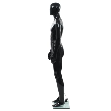 """vidaXL Full Body Male Mannequin with Glass Base Glossy Black 72.8""""[3/9]"""