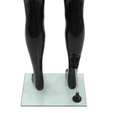 """vidaXL Full Body Male Mannequin with Glass Base Glossy Black 72.8""""[6/9]"""