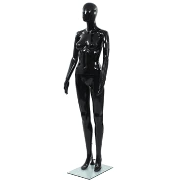 "vidaXL Full Body Female Mannequin with Glass Base Glossy Black 68.9""[1/10]"