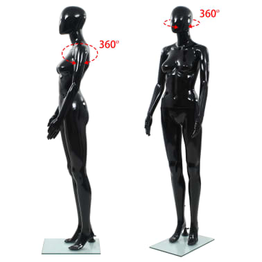 "vidaXL Full Body Female Mannequin with Glass Base Glossy Black 68.9""[5/10]"