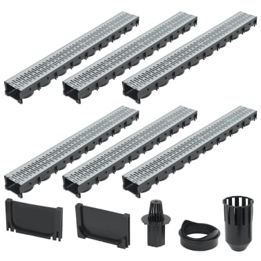 vidaXL Canales de drenaje 6 unidades acero galvanizado 6 m[1/5]