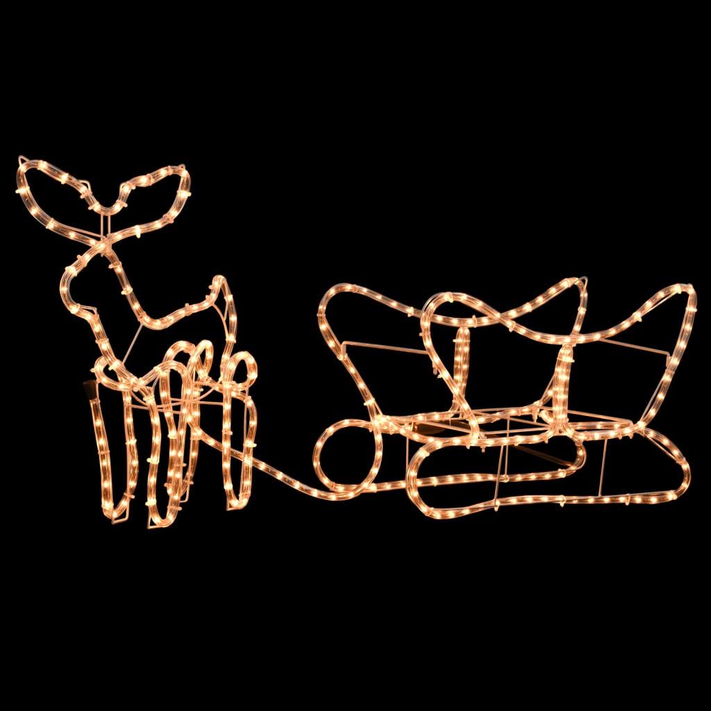 Vánoční světelná dekorace sobi se sáněmi 110 x 24 x 47 cm