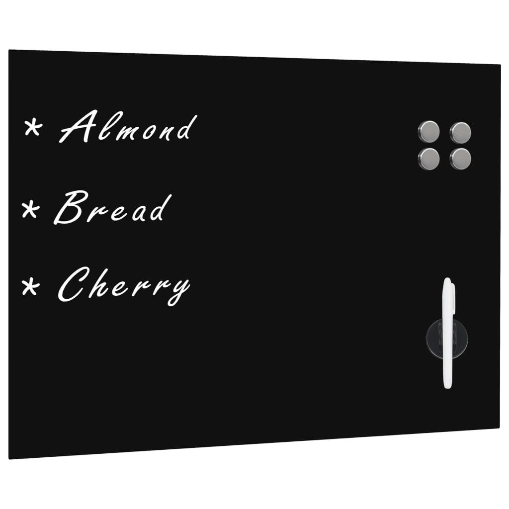 vidaXL Nástěnná magnetická černá tabule skleněná 80 x 60 cm