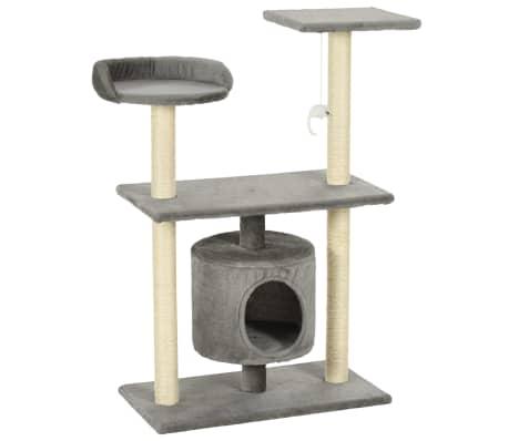 vidaXL Árvore para gatos c/postes arranhadores sisal 95 cm cinzento-picture