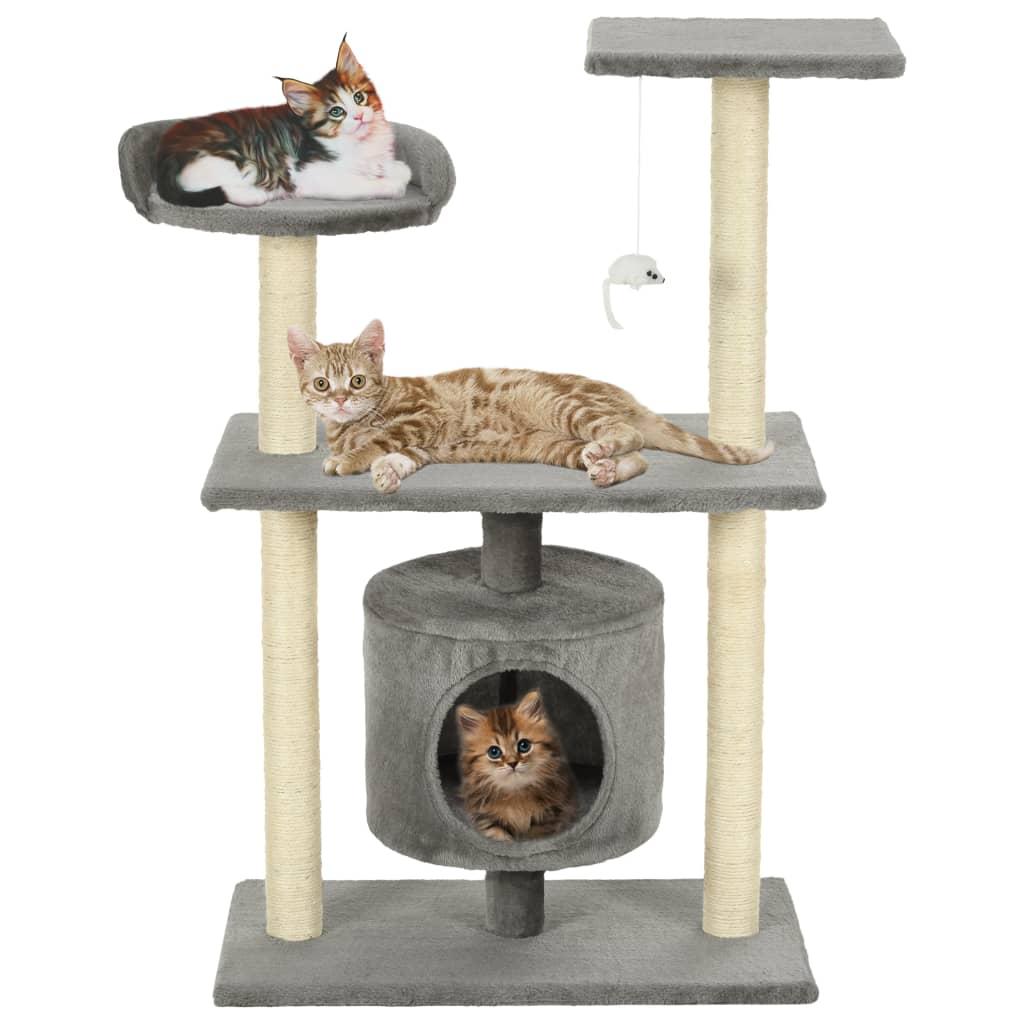 vidaXL Škrabadlo pro kočky se sisalovými sloupky 95 cm šedý