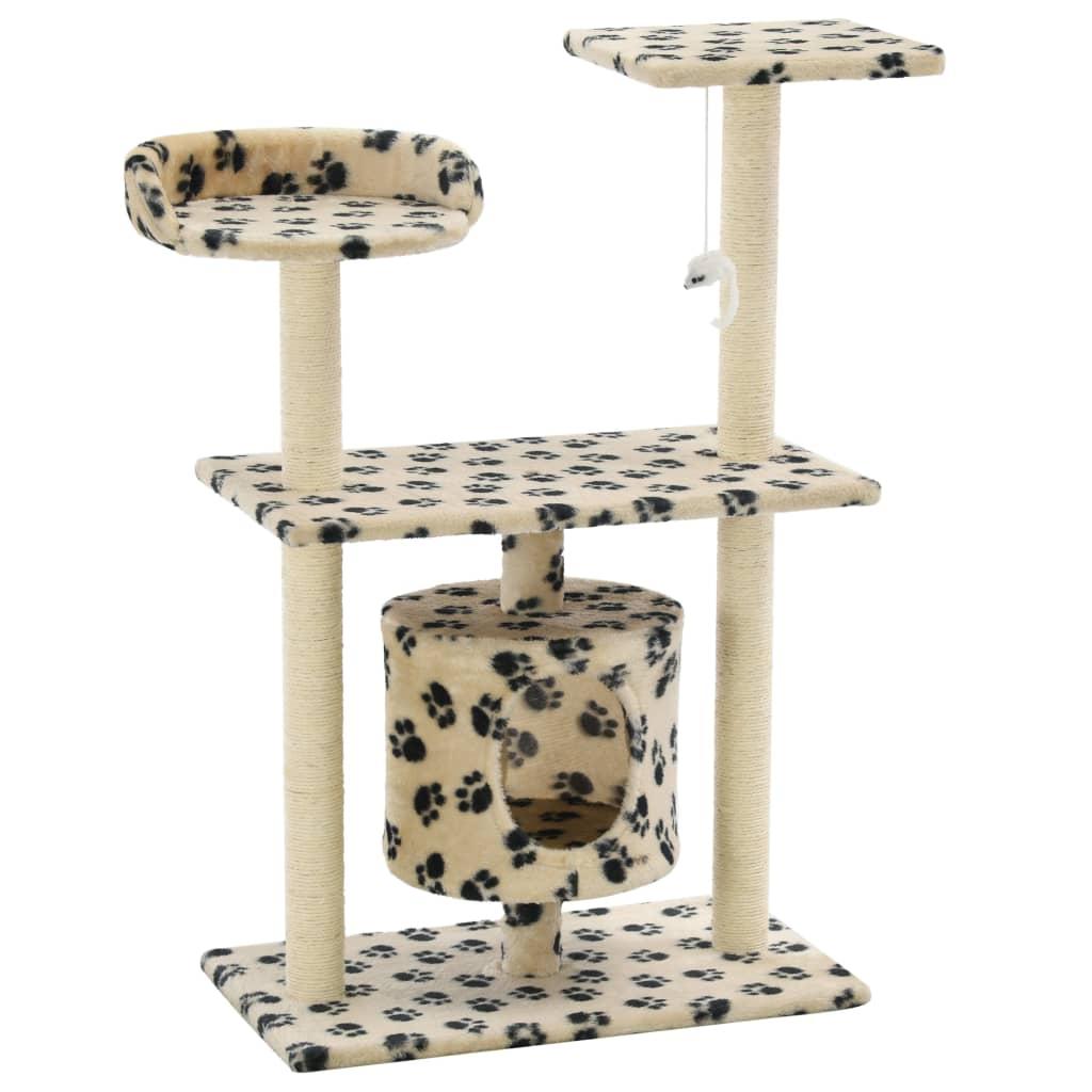 vidaXL Škrabadlo pro kočky sisalové sloupky 95 cm béžové s potiskem