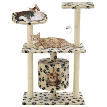 9645d9147e82 vidaXL Cat Tree with Sisal Scratching Posts 95 cm Beige Paw Prints[1/7