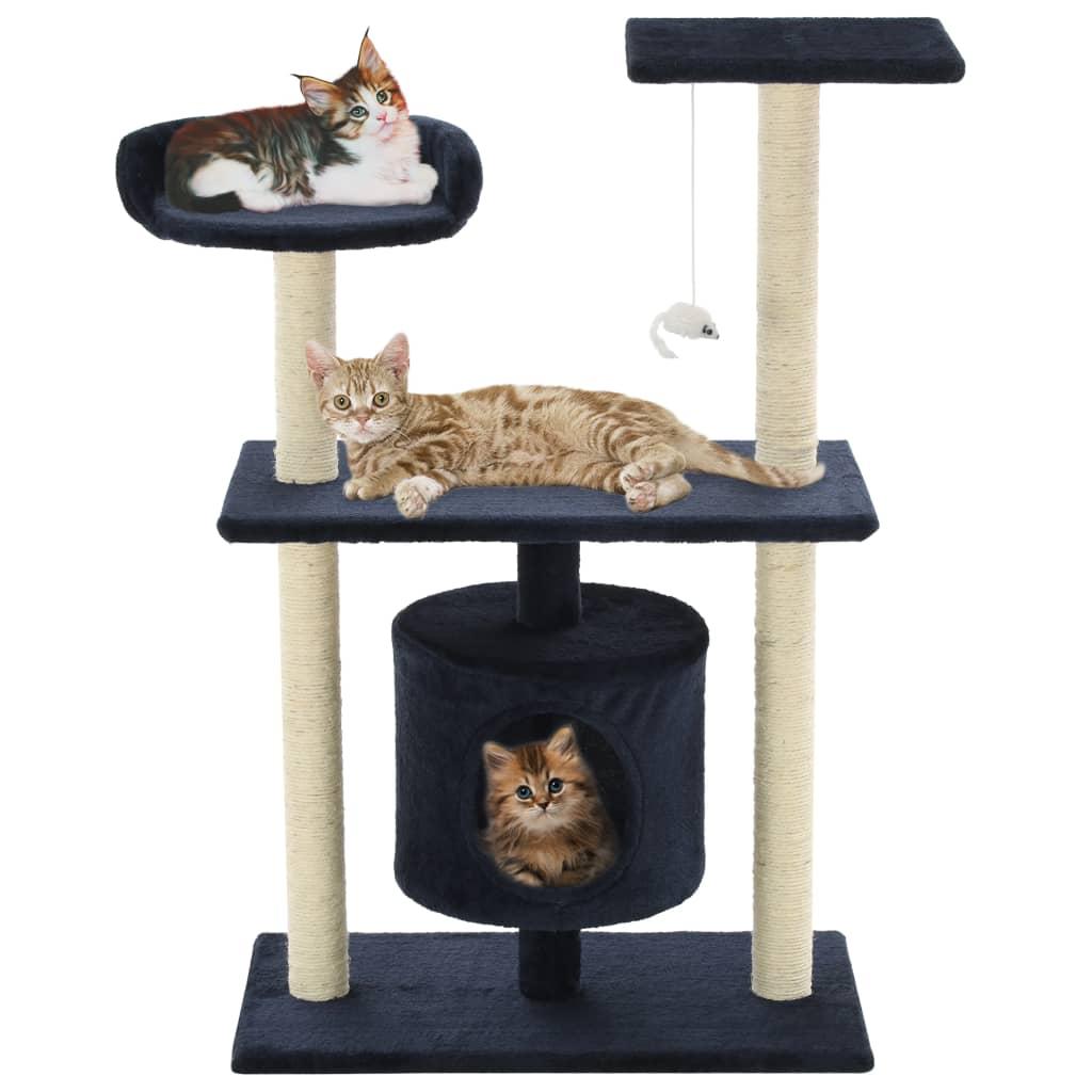 vidaXL Škrabadlo pro kočky se sisalovými sloupky 95 cm tmavě modré