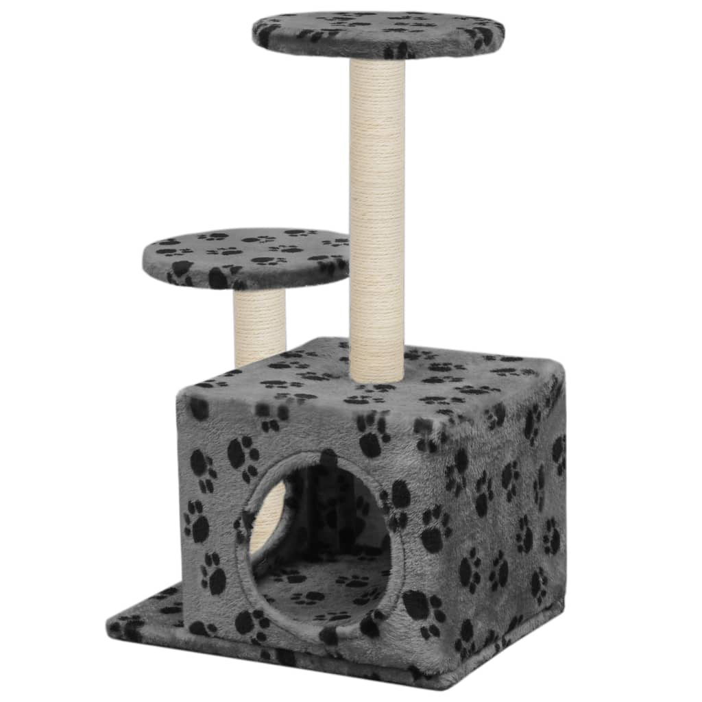 vidaXL Škrabadlo pro kočky sisalové sloupky 60 cm šedé s potiskem