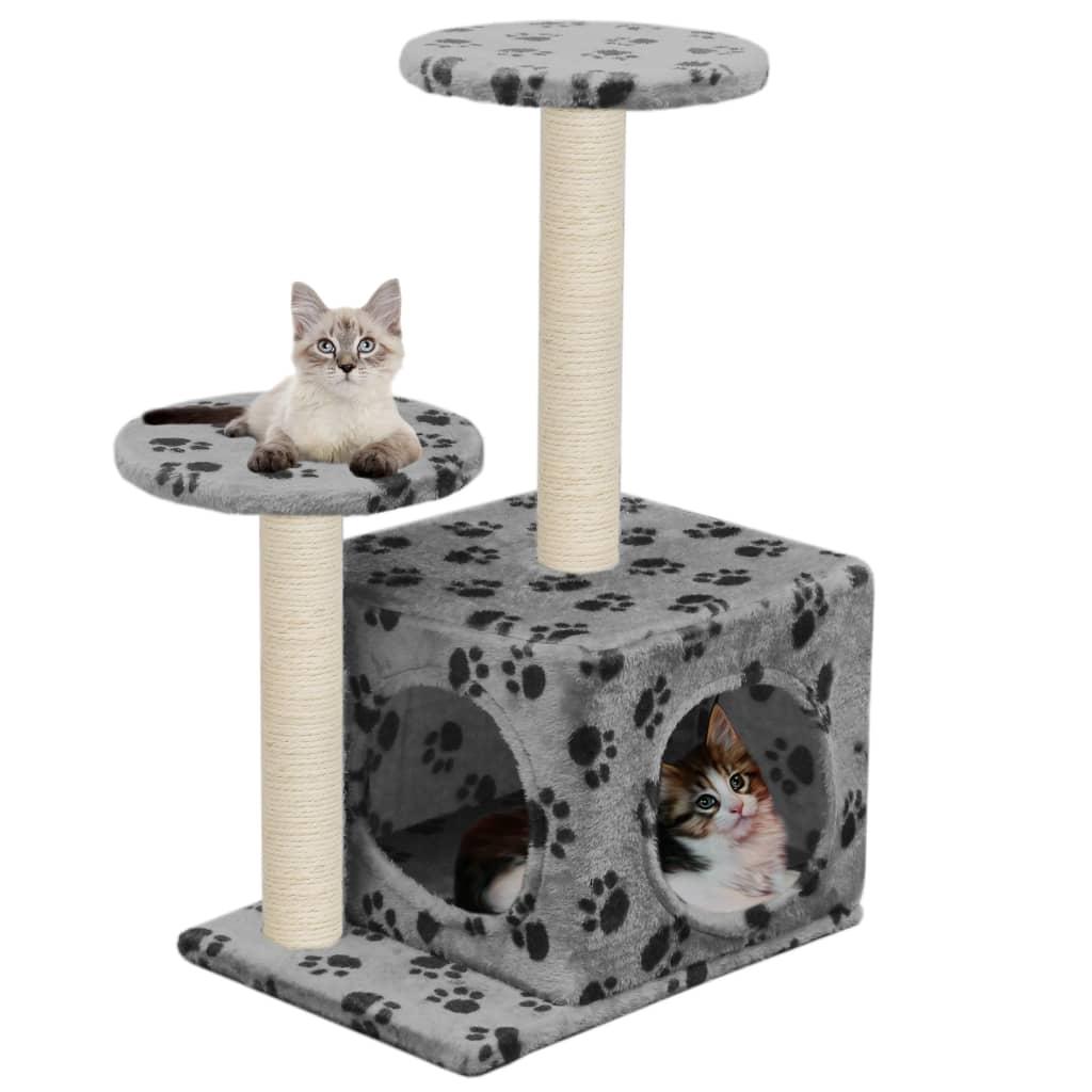 vidaXL Ansamblu pisici turnuri de sisal gri 60 cm imprimeu cu lăbuțe poza vidaxl.ro