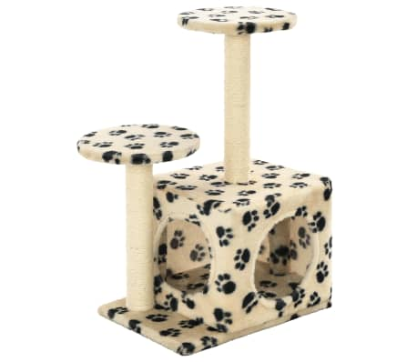 vidaXL Cat Tree with Sisal Scratching Posts 60 cm Beige Paw Prints