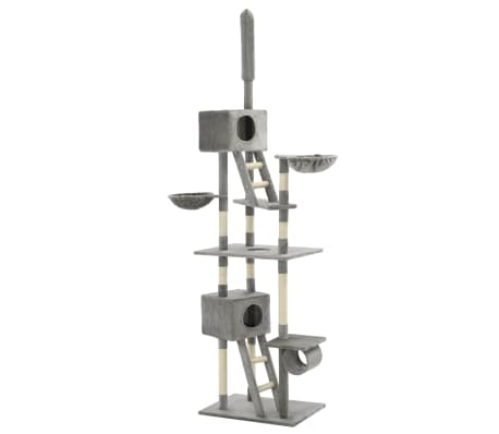 vidaXL Cat Tree with Sisal Scratching Posts 230-260 cm Grey