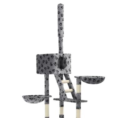 vidaXL Mačje drevo s praskalniki iz sisala 230-260 cm sivo s tačkami[4/6]