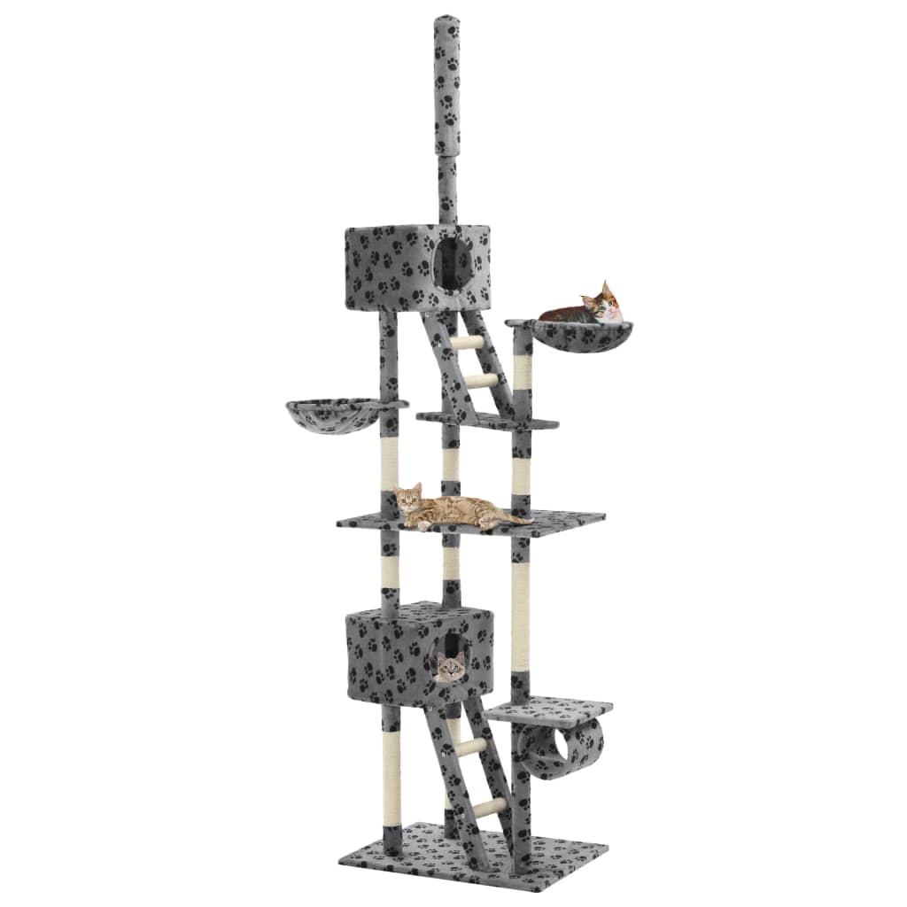 vidaXL Ansamblu pisici, stâlpi sisal, 230-260 cm Imprimeu lăbuțe Gri poza 2021 vidaXL