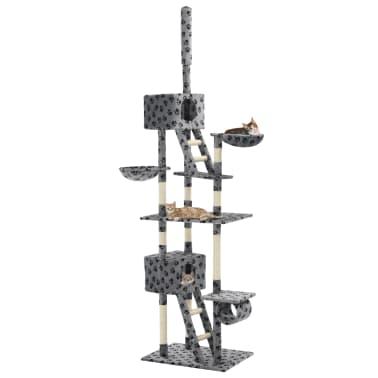 vidaXL Mačje drevo s praskalniki iz sisala 230-260 cm sivo s tačkami[1/6]