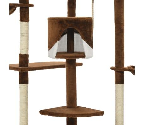 vidaXL Mačje drevo s praskalniki iz sisala 203 cm rjave in bele barve[5/6]