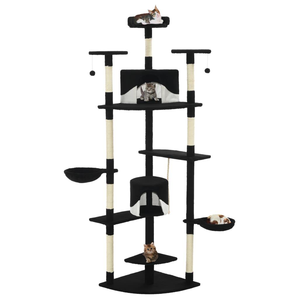 vidaXL Ansamblu pisici, stâlpi din funie de sisal 203 cm Negru și alb vidaxl.ro
