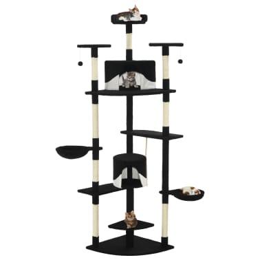 vidaxl arbre chat avec griffoirs en sisal 203 cm noir et. Black Bedroom Furniture Sets. Home Design Ideas