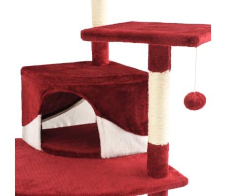vidaXL Mačje drevo s praskalniki iz sisala 203 cm rdeče in bele barve[6/6]