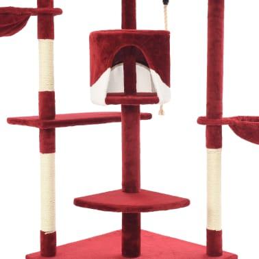 vidaXL Mačje drevo s praskalniki iz sisala 203 cm rdeče in bele barve[5/6]