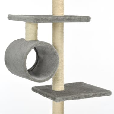vidaXL Mačje drevo s praskalniki iz sisala 260 cm sive barve[5/6]