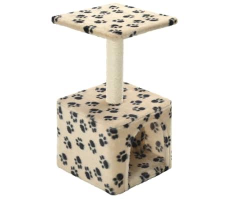 vidaXL kaķu māja, stabs nagu asināšanai, 55 cm, bēša ar ķepu apdruku