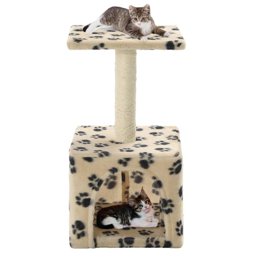 Škrabadlo pro kočky sisalové sloupky 55 cm béžové s potiskem