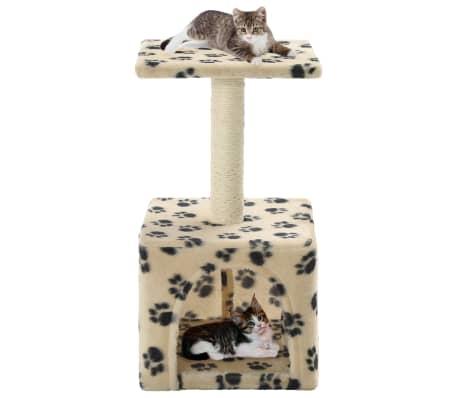 vidaXL kaķu māja, stabs nagu asināšanai, 55 cm, bēša ar ķepu apdruku[1/6]