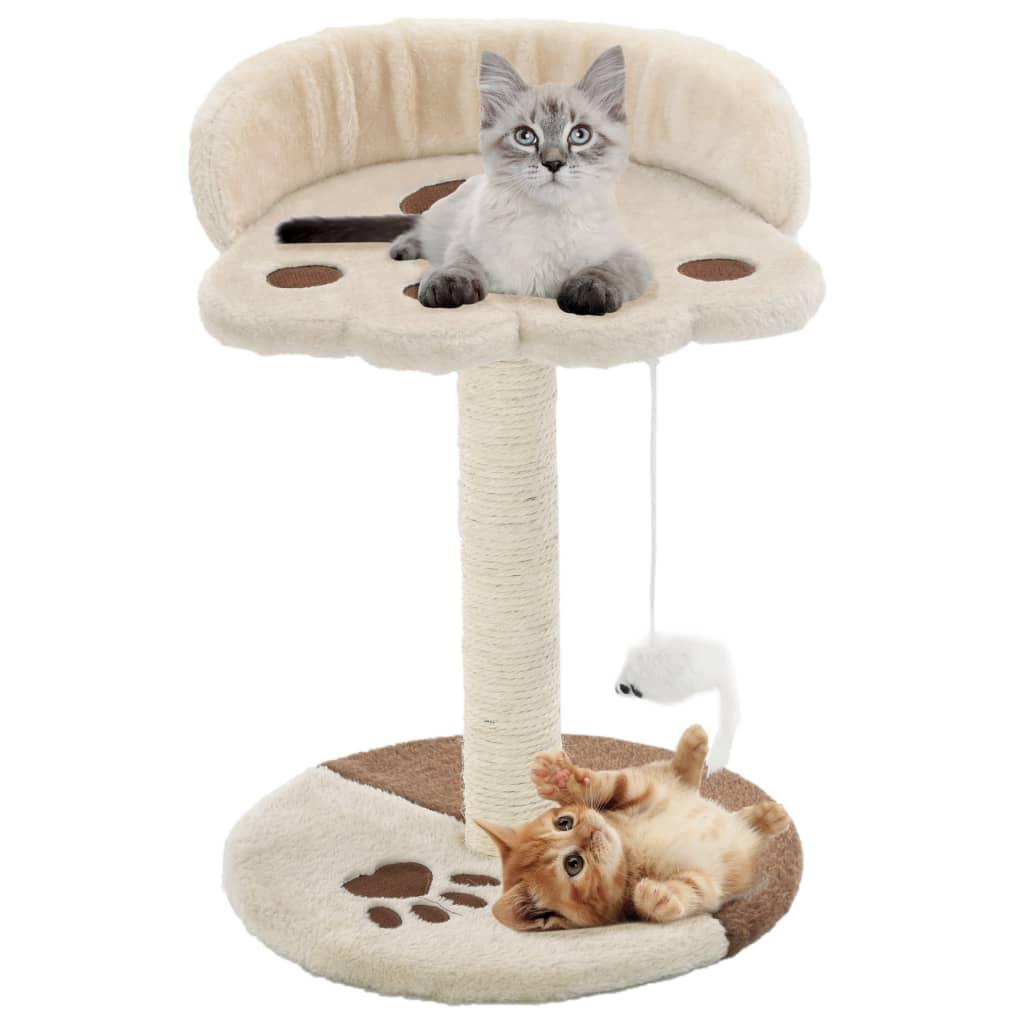 vidaXL Škrabadlo pro kočky sisalové sloupky 40 cm béžové a hnědé