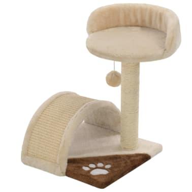 vidaXL kaķu māja, sizala stabi nagu asināšanai, 40 cm, bēša ar brūnu[2/5]