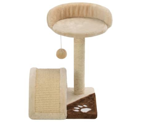 vidaXL kaķu māja, sizala stabi nagu asināšanai, 40 cm, bēša ar brūnu[4/5]