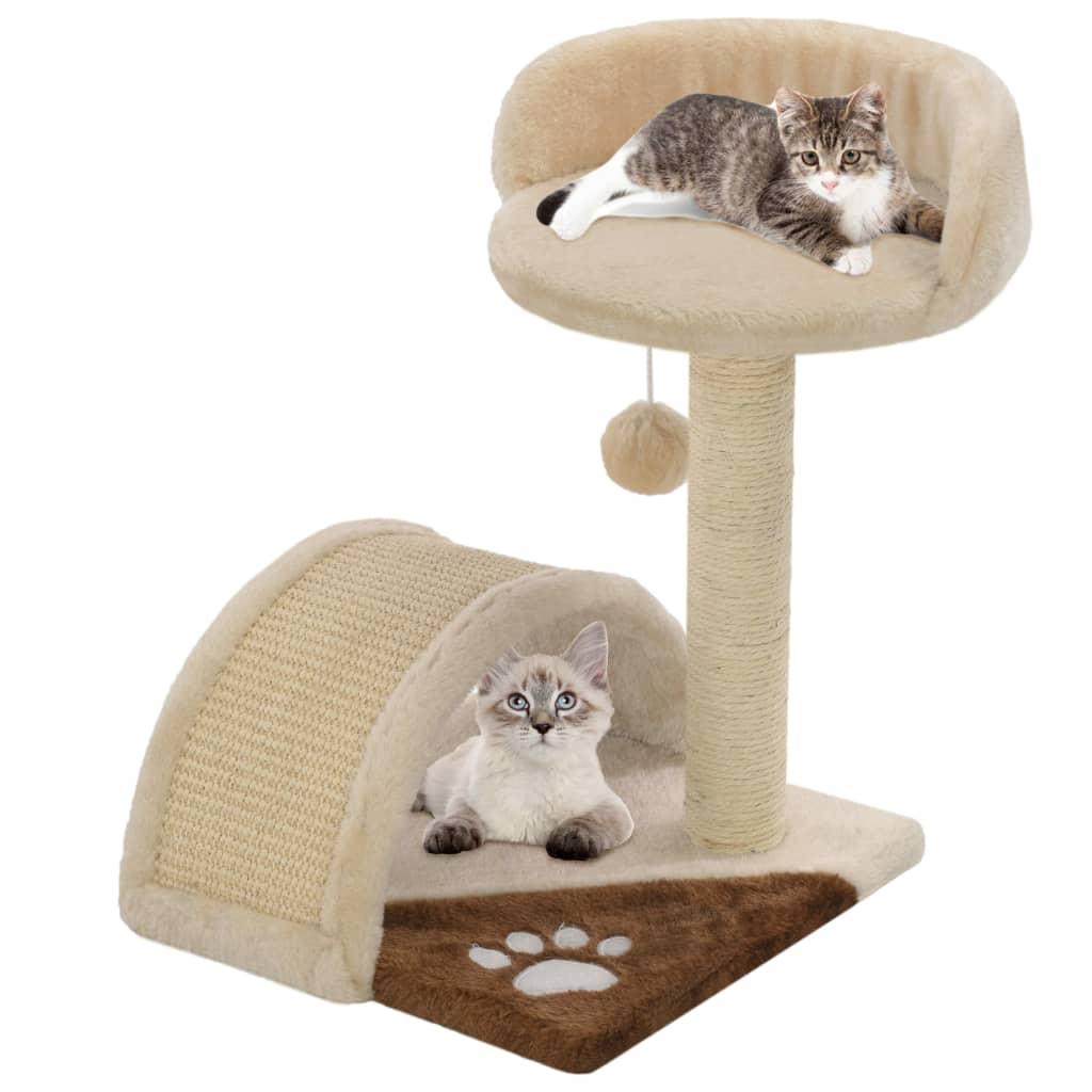 Škrabadlo pro kočky sisalové sloupky 40 cm béžové a hnědé