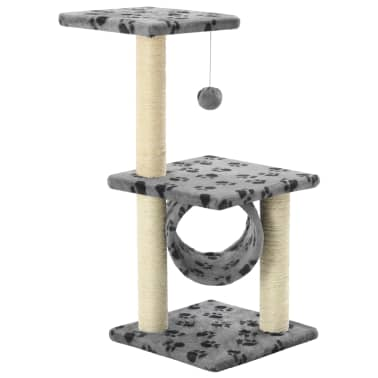 vidaXL Kissan raapimispuu sisal-pylväillä 65 cm tassunjäljet harmaa[2/5]